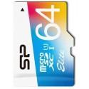 SiliconPower microSD 64Gb (Class 10) UHS-I Elite COLOR +ad