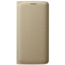 Чехол-книжка Samsung Edge S6 G925F EF-WG925BFEGRU Gold ткань (оригинал)